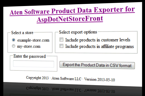 Product Data Exporter for AspDotNetStoreFront Screenshot.png