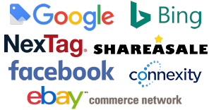 Google, Bing, Facebook, eBay Commerce Network, Connexity, ShareASale